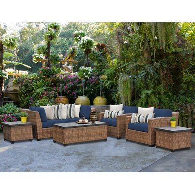 Laguna 7 Piece Deep Seating Group with Cushion Fabric: Navy