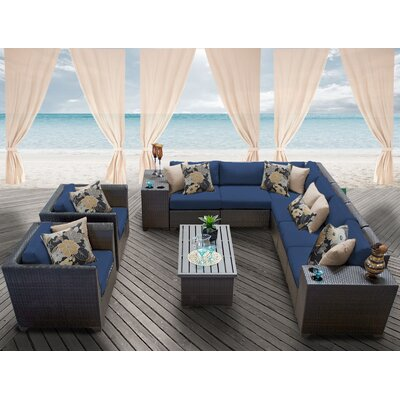 Barbados 11 Piece Deep Seating Group with Cushion Fabric: Navy