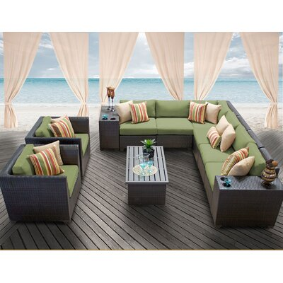 Barbados 11 Piece Deep Seating Group with Cushion Fabric: Cilantro
