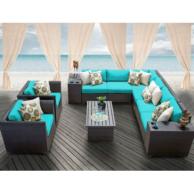 Barbados 11 Piece Deep Seating Group with Cushion Fabric: Aruba