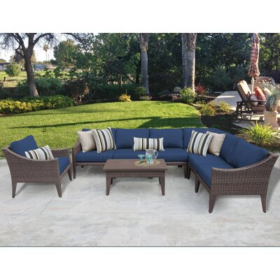 Manhattan 8 Piece Deep Seating Group with Cushion Fabric: Navy
