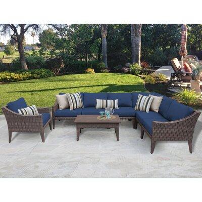 Manhattan 8 Piece Deep Seating Group with Cushion Fabric: Navy