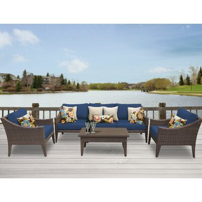Manhattan 6 Piece Deep Seating Group with Cushion Fabric: Navy