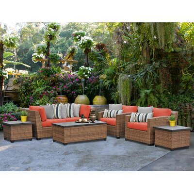 Laguna 7 Piece Deep Seating Group with Cushion Fabric: Tangerine