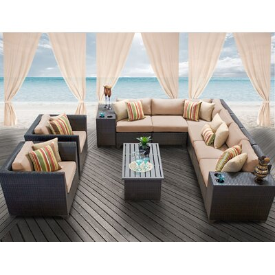Barbados 11 Piece Deep Seating Group with Cushion Fabric: Wheat
