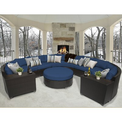 Barbados 8 Piece Sectional Seating Group with Cushion Fabric: Navy