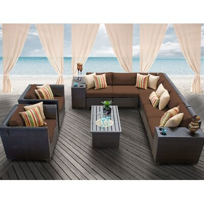 Barbados 11 Piece Deep Seating Group with Cushion Fabric: Cocoa
