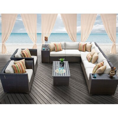 Barbados 11 Piece Deep Seating Group with Cushion Fabric: Beige