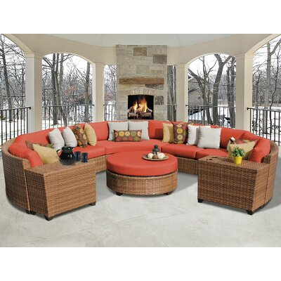 Laguna 8 Piece Sectional Seating Group with Cushion Fabric: Tangerine