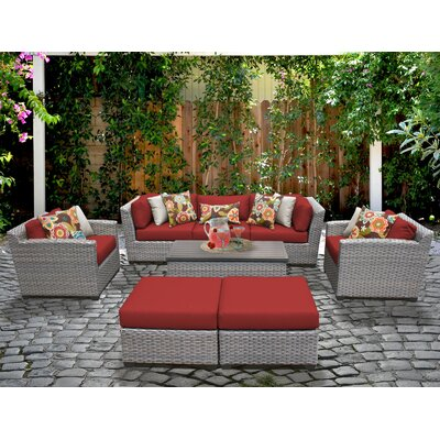 Florence 8 Piece Deep Seating Group with Cushion Fabric: Terracotta
