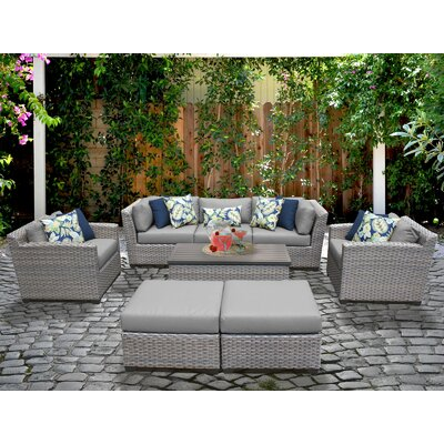 Florence 8 Piece Deep Seating Group with Cushion Fabric: Gray