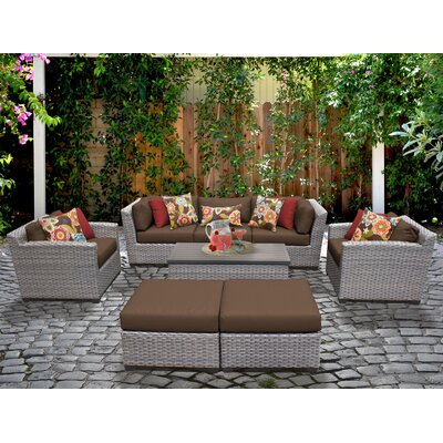 Florence 8 Piece Deep Seating Group with Cushion Fabric: Cocoa