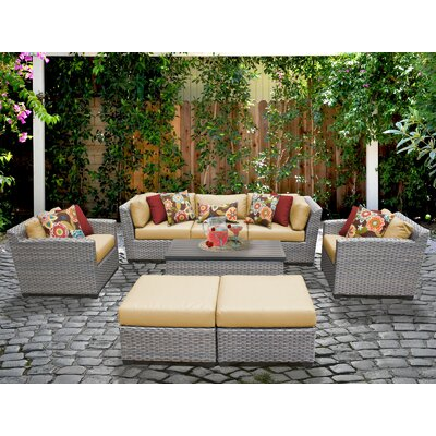 Florence 8 Piece Deep Seating Group with Cushion Fabric: Sesame