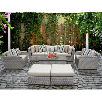 Florence 8 Piece Deep Seating Group with Cushion Fabric: Beige