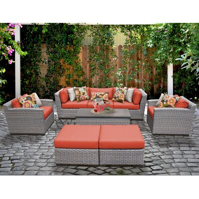 Florence 8 Piece Deep Seating Group with Cushion Fabric: Tangerine