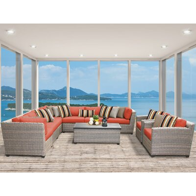 Florence 10 Piece Sectional Seating Group with Cushion Fabric: Tangerine