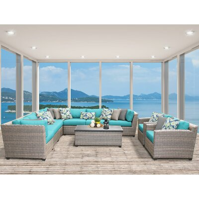 Florence 10 Piece Sectional Seating Group with Cushion Fabric: White