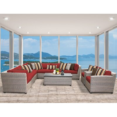 Florence 10 Piece Sectional Seating Group with Cushion Fabric: Terracotta
