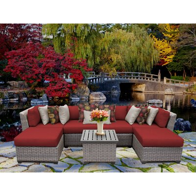 Florence 7 Piece Sectional Seating Group with Cushion Fabric: Terracotta