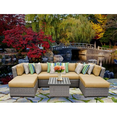 Florence 7 Piece Sectional Seating Group with Cushion Fabric: Sesame
