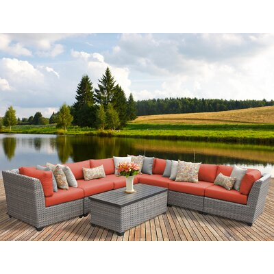 Florence 8 Piece Sectional Seating Group with Cushion Fabric: Tangerine