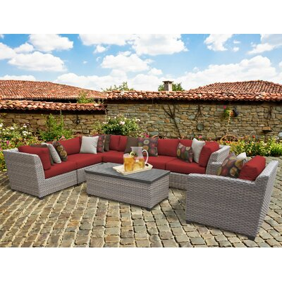 Florence 8 Piece Sectional Seating Group with Cushion Fabric: Terracotta