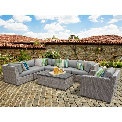 Florence 8 Piece Sectional Seating Group with Cushion Fabric: Gray