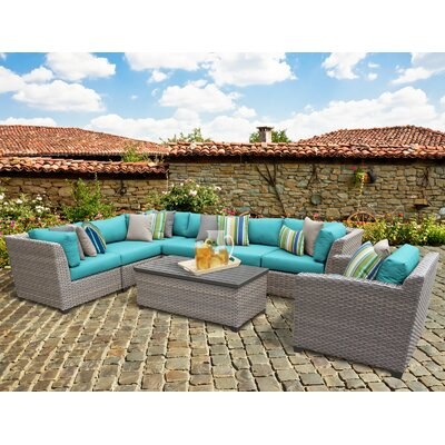 Florence 8 Piece Sectional Seating Group with Cushion Fabric: White