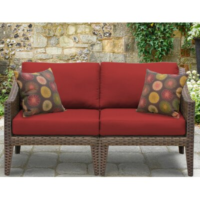 Manhattan Outdoor Wicker Loveseat with Cushions Fabric: Terracotta