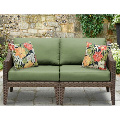 Manhattan Outdoor Wicker Loveseat with Cushions Fabric: Cilantro
