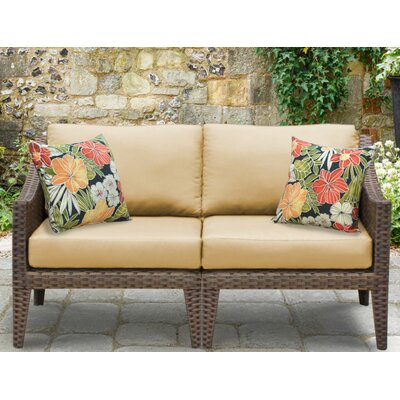 Manhattan Outdoor Wicker Loveseat with Cushions Fabric: Sesame