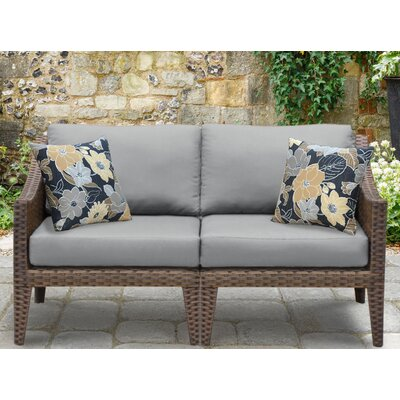 Manhattan Outdoor Wicker Loveseat with Cushions Fabric: Grey