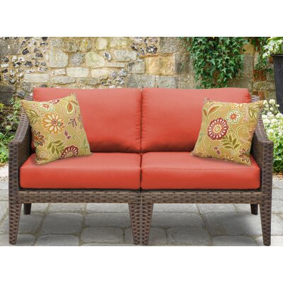Manhattan Outdoor Wicker Loveseat with Cushions Fabric: Tangerine