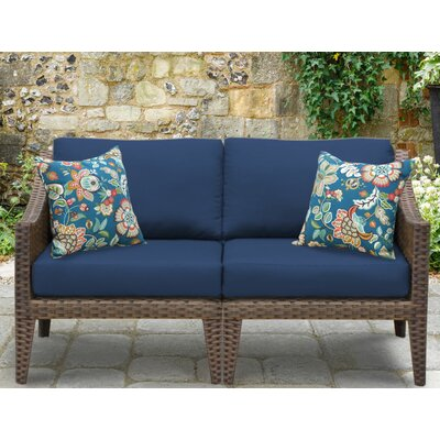 Manhattan Outdoor Wicker Loveseat with Cushions Fabric: Navy