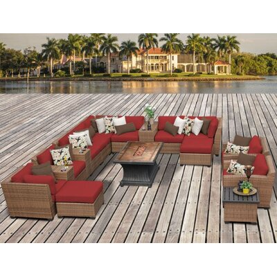 Laguna Outdoor Wicker Patio 17 Piece Fire Pit Seating Group with Cushion Fabric: Terracotta