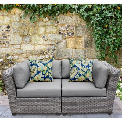 Florence 2 Piece Deep Seating Group with Cushion Fabric: Gray