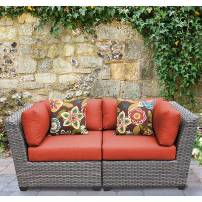 Florence 2 Piece Deep Seating Group with Cushion Fabric: Tangerine