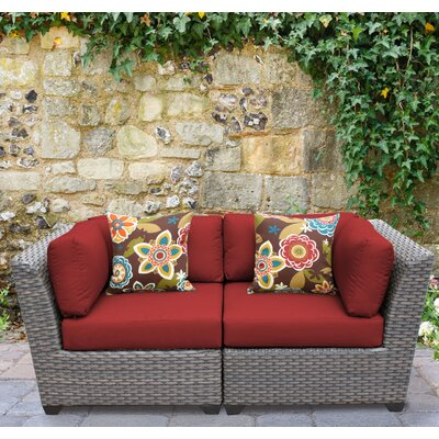 Florence 2 Piece Deep Seating Group with Cushion Fabric: Terracotta