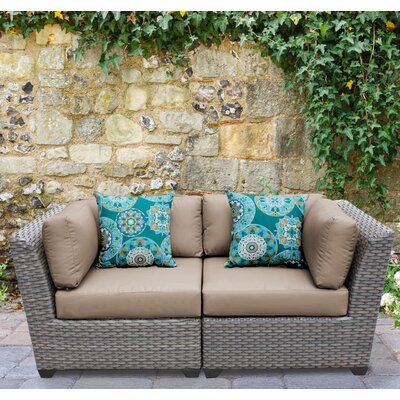 Florence 2 Piece Deep Seating Group with Cushion Fabric: Wheat