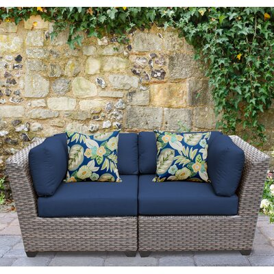 Florence 2 Piece Deep Seating Group with Cushion Fabric: Navy