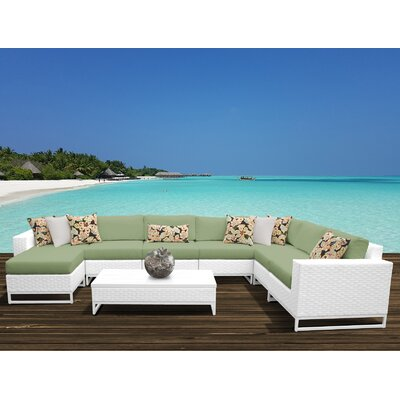 Miami 9 Piece Sectional Seating Group with Cushions Fabric: Cilantro