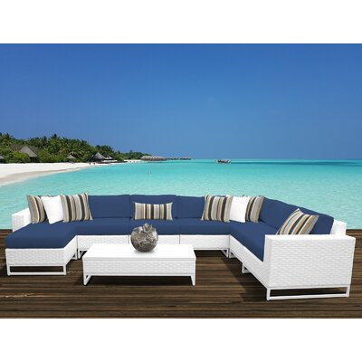 Miami 9 Piece Sectional Seating Group with Cushions Fabric: Navy
