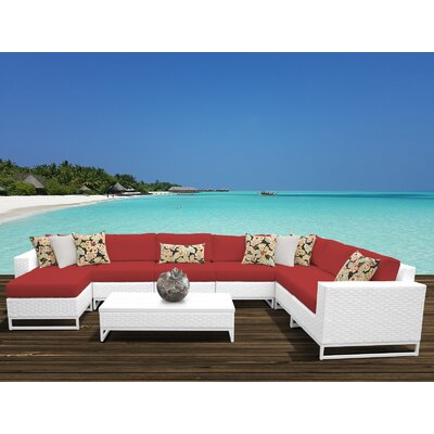 Miami 9 Piece Sectional Seating Group with Cushions Fabric: Terracotta