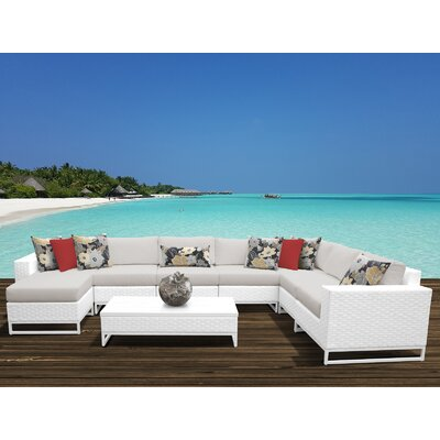 Miami 9 Piece Sectional Seating Group with Cushions Fabric: Beige