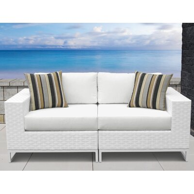 Miami 2 Piece Sofa Seating Group with Cushions Fabric: White