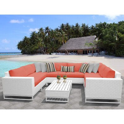 Miami 9 Piece Sectional Seating Group with Cushions Fabric: Tangerine