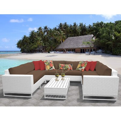 Miami 9 Piece Sectional Seating Group with Cushions Fabric: Cocoa