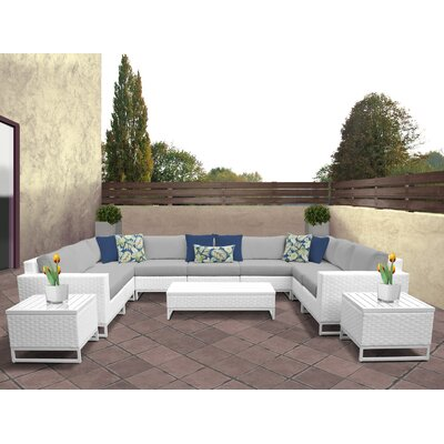 Miami 12 Piece Deep Seating Group with Cushions Fabric: Gray