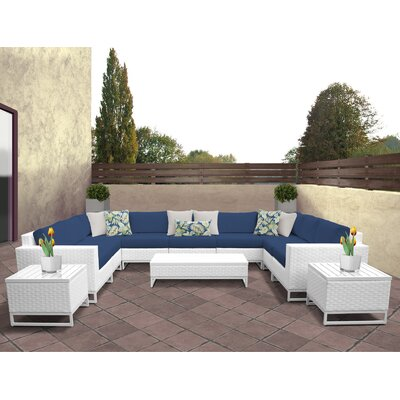 Miami 12 Piece Deep Seating Group with Cushions Fabric: Navy