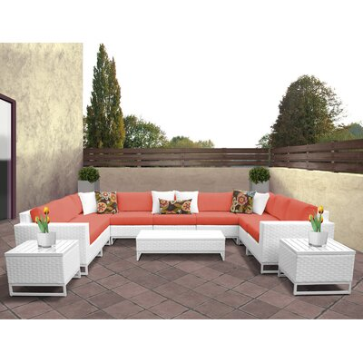 Miami 12 Piece Deep Seating Group with Cushions Fabric: Tangerine